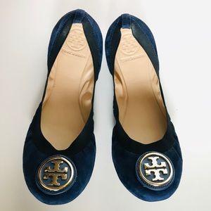 fd01a04a03fa Tory Burch Shoes - Tory Burch Caroline 2 Clare Blue Suede Flats 8 1 2